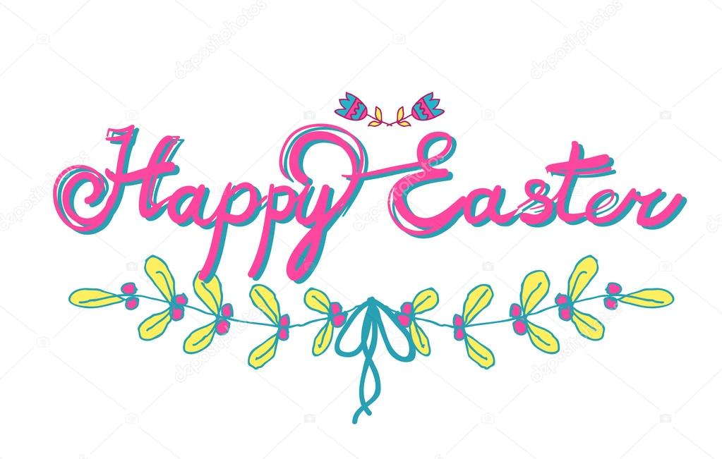 Happy easter calligraphy — stock vector