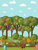 Orchard with vegetable beds — Wektor stockowy
