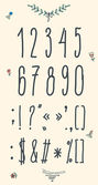 Hand drawn sketch numbers, digits, symbols set. — Stock Vector