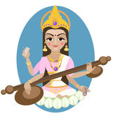 Cartoon Sarasvati Devi — Vetorial Stock