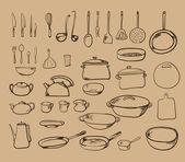 Mutfak araç koleksiyonu — Stok Vektör