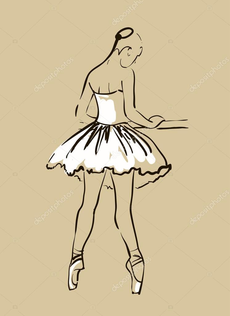 Scarica - Disegno vettoriale della ballerina della ragazza in piedi in ...
