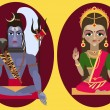 Постер, плакат: Hindu deity lord Shiva and deity mother Parvati