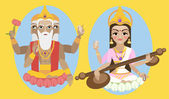 Hindu Goddess Saraswati with deity lord Brahma — Stock Vector