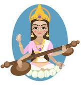 Hindu Goddess Saraswati — 图库矢量图片
