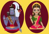 Hindu deity lord Shiva and deity mother Parvati — Stock Vector
