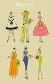 Collection of beautiful fashion city girls — Stock Vector