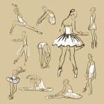 Ballerinas standing in a pose set — Stock Vector #50475905
