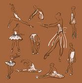 Ballerinas standing in a pose set — Stock Vector