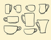 Set icons tea coffee cups — Stock Vector