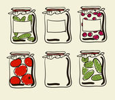 Jars with preserves homemade vegetables and jam. — Stock Vector