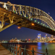 Sydney harbour bridge di notte — Foto Stock