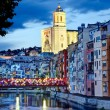 Girona, Spain with decorated Bridge  — Stock Photo