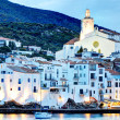 View of village of Cadaques, Costa Brava, Spain: Cathedral and Houses — Stock Photo