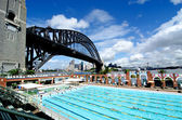 Sydney, Harbour Bridge and Olympic Swimming Pool — Stock Photo