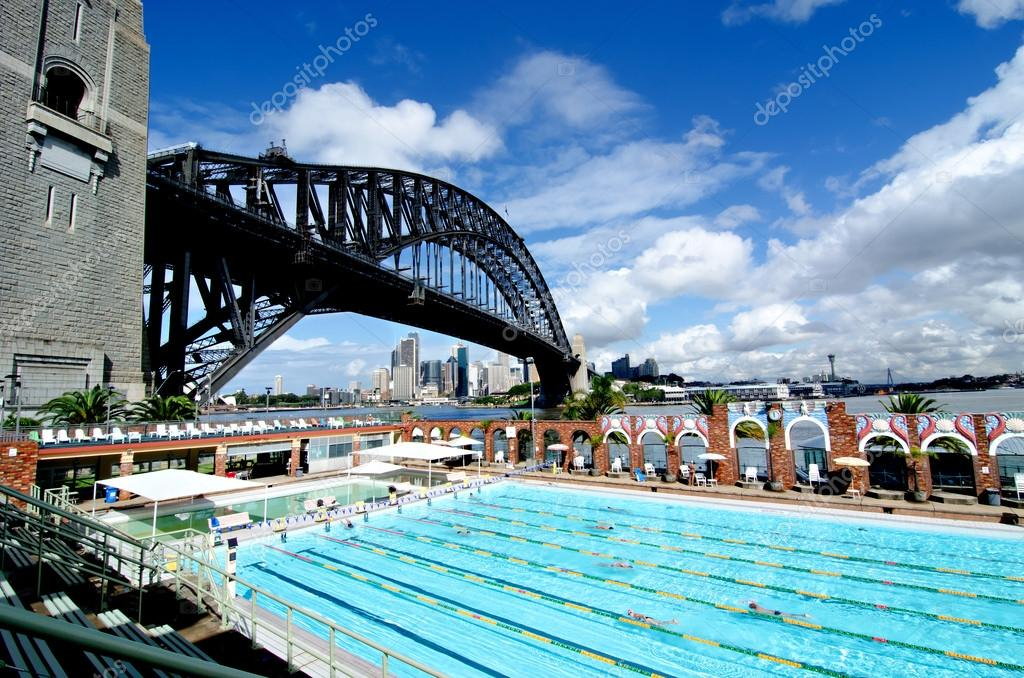 Sydney Harbour Bridge And Olympic Swimming Pool Stock Photo Mletschert 27897773