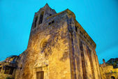 Cathedral in Pals by night, Costa Brava, Spain — Stock Photo