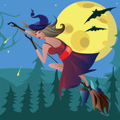 Witch on a broomstick in the air — Stock Photo