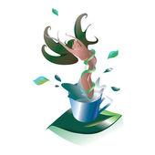 Chá de emagrecimento eficaz, sob a forma de uma garota — Vetorial Stock