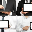 Four images - businessman holding a tablet PC — Stock Photo #26005675