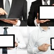 Stock Photo: Four images - businessmholding tablet PC