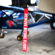 Aviation detail - remove before flight ribbon — Stok fotoğraf