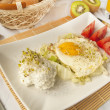 Stock Photo: Traditional breakfast - fried eggs and cottage cheese
