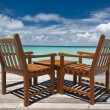 Stock Photo: Table for two at beach bar