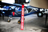 Aviation detail - remove before flight ribbon — Stock Photo