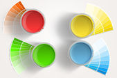 Fourpaint cans - yellow, red, blue, green on white background — Stock Photo