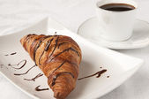 French breakfast - croissant and coffee — Stock Photo