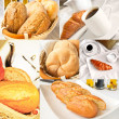 Fresh bread - collage of six photos — Stock Photo