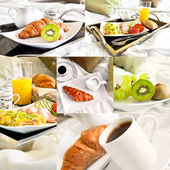 Healthy breakfast served to bed - collage of six photos — Stock Photo
