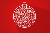 Red christmas ball - flat background — Stock Photo