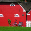 Scandinavian red houses — Stock Photo