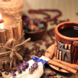 Naturmort With Cup of Coffee, Coffee Beans And Candle — Стоковая фотография