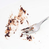 Close up of dirty plate and fork. — Stock Photo