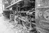 Vintage tren jantlar siyah beyaz. — Stok fotoğraf