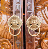 Lion chines door hand grip — Stock Photo