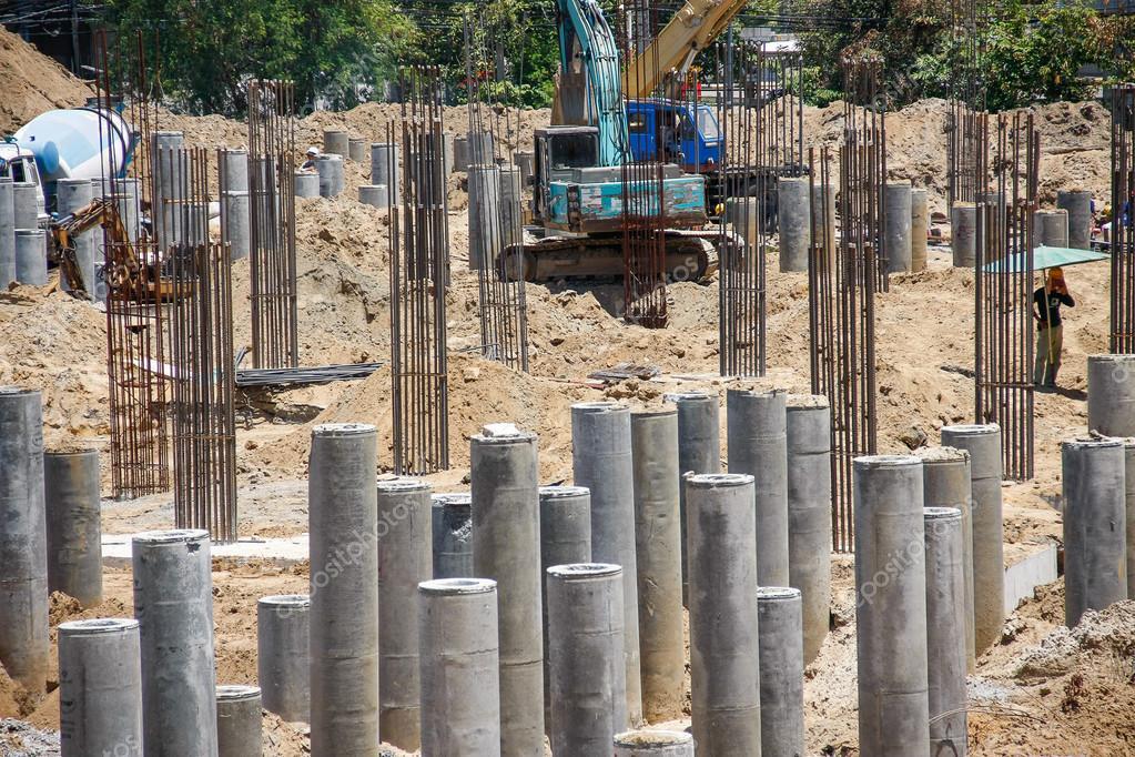 Foundation concrete pile stock photo chartcameraman for Concrete piling cost