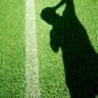 Football field with photography shadow — Stock Photo