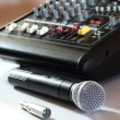Microphone and mixer — Stock Photo