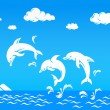 White dolphins jumping over sea — Stock Vector