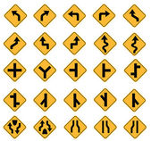 Yellow road signs — Stock Vector