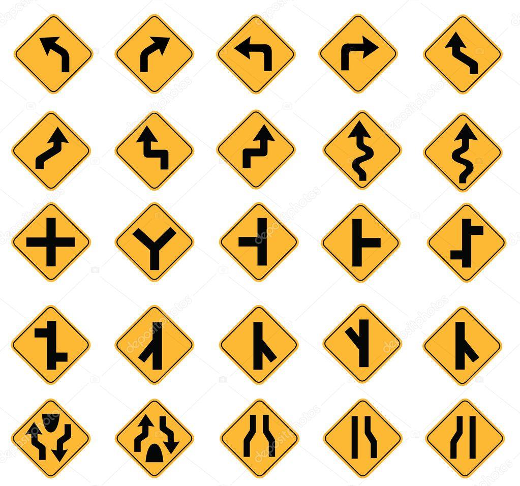 交通标志矢量在白色背景上设置