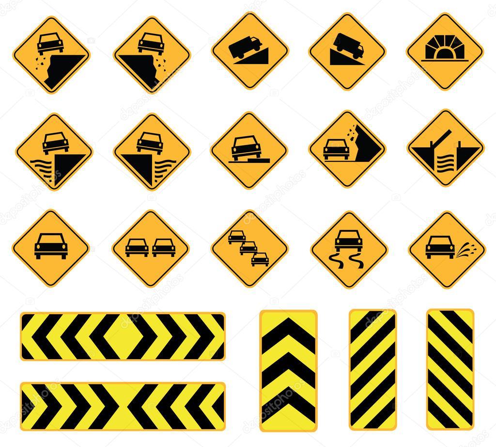 谨慎道路标志, 交通标志, 矢量集– 图库插图