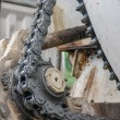 Stock Photo: Old chain with propel roller
