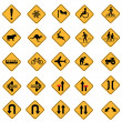 Warning road signs — Imagen vectorial