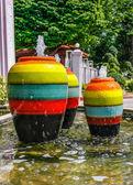 Colorful jar pot fountain — Stock Photo
