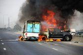 Explosive car crash — Stockfoto